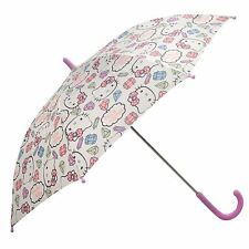 Hello Kitty Umbrella Childs White/Pink Brolly Parasol Rain Guard