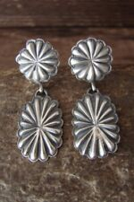 Navajo Sterling Silver Hand Stamped Concho Post Earrings! by Eugene Charley