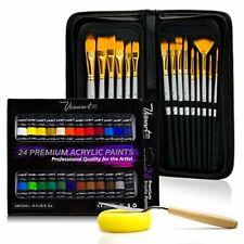 Acrylic Paint Brush Set with 15 Premium Artist Brushes and Bonus 24 Color Acryli
