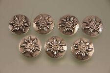7 Stück 800er Silber Trachtenknöpfe Edelweiss Design 22mm für Weste oder Janka