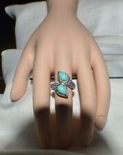 GLAMOROUS 2.82ct. NATURAL TANZANITE  & GENUINE TURQUOISE  .02ct. DIAMOND RING