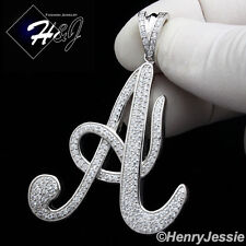 "MEN 925 STERLING SILVER LAB DIAMOND ICED BLING INITIAL LETTER ""A"" PENDANT*SP141"