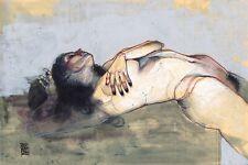 The Sea On Edge 11x14in. Watercolor Nude Figure Leo Charre