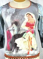 Vintage 90s LOVE AMOUR Polyester Festival Bohemian Graphic Print Fitted TShirt