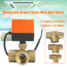 Motorized Electric Brass 3 Way Ball Valves Female 3 Wire AC 220V Full Port T Typ