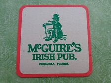 Beer COASTER ~*~ McGUIRE'S Irish Pub ~ Pensacola, FLORIDA ~*~ Date Rating Notes!
