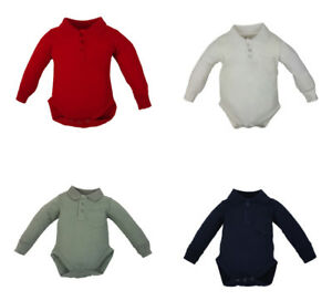 new polo collar long sleeve baby vests, grow, romper, bodysuit 0-24 months