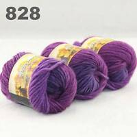 SALE 3x50gr Skeins NEW Chunky Hand-woven Colorful Knitting Scores Wool Yarn 828