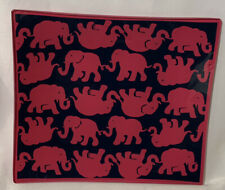"""Lilly Pulitzer Glass Gray Catch all Plate """"Tusk in Sun"""" Pink/Navy Elephants 8x7"""""""