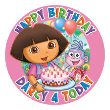 DORA PERSONALISED EDIBLE ICING IMAGE PARTY CAKE TOPPER ROUND