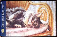 Fiddler's Elbow Designer Doormat Tabby In A Chair by Sue Ellen Ross NWT