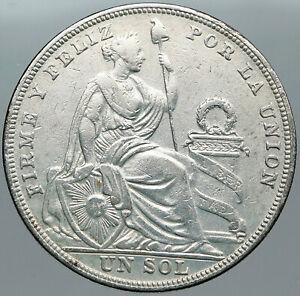 1924 PERU South America 1 SOL Antique BIG Original Silver Peruvian Coin i88782