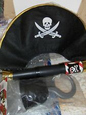 4 Pc  Pirate Set Hat Hook Telescope Birthday Party Carnival Prize Favors