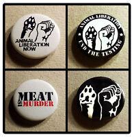 4 ANIMAL RIGHTS Badge set Pin Button 25mm veggie vegan protest liberation tofu