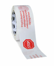 "(12 Rls) White Printed Packing Stop Sign Tape 3"" x 110 Yds 2 Mil Free Shipping"