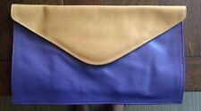 Brave CHAPA LEATHER CLUTCH in Camel & Purple.  NEW with Tags