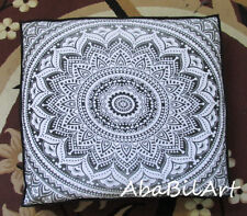 White Grey Large Floor Cushion Cover Mandala Art Cotton Square Pet Dog Bed Cover