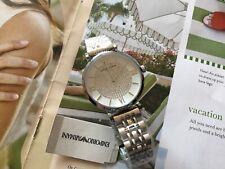 NEW Emporio Armani AR1925 Silver Tone White Crystal Pave Dial Ladies Wrist Watch
