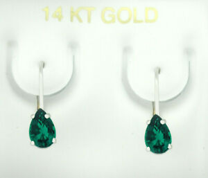 COLOMBIAN 0.96 Cts EMERALD DANGLING EARRINGS 14K WHITE GOLD * New With Tag