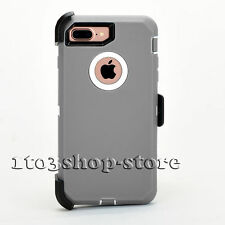 iPhone 7 Plus iPhone 8 Plus Hard Case Holster Clip Otterbox Defender Gray/White
