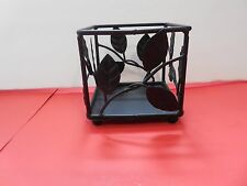 """CANDLE HOLDER SQUARE BLACK WIRE WITH LEAVES 3"""" X 3"""" X 3"""""""