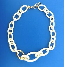 White Enamel Gold Tone Graduated Oval Loop Chain Necklace Banana Republic