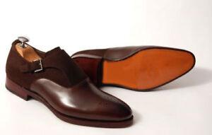 Handmade Brown Suede Plain Leather Monk Shoes Formal Men Monk Buckle Strap Shoes