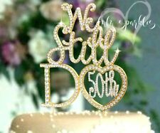 50th Gold Anniversary Vow Renewal Cake Topper made with crystal rhinestones