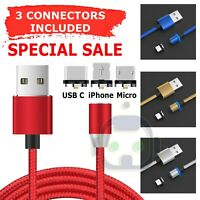 3 in 1 Magnetic Fast Charging USB Cable Charger 3A For IPhone Type-C Micro USB