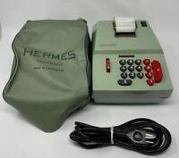 Hermes Adding Machine Precisa Sea Foam Green Switzerland Dust Cover Works 191183