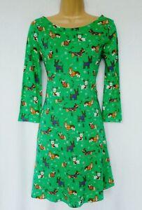 NEXT Dog Puppy print Dachshund Pug Terrier Jersey X-MAS Christmas Skater dress