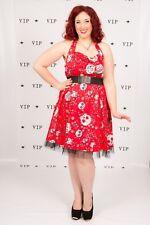 rockabilly pin up red suger skull halterneck swing dress