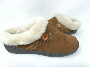 Clarks Women's Classic Alina Lined Indoor/Outdoor Slippers Brown Size:8 142R tz