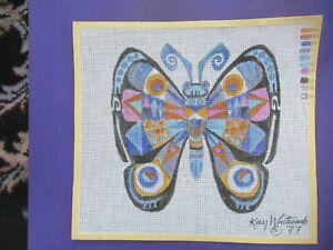 Hand Painted Needlepoint Pillow Canvas Untitled Butterfly Kay Whitcomb SIGNED
