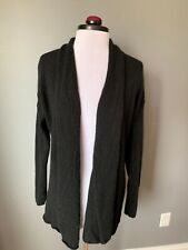 EVELYN CASHMERE BLACK OPEN LONG CARDIGAN SWEATER XL EXTRA LONG