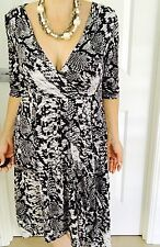 FLOWER WOMENS MIDI DRESS PRINTED STRETCHY 3/4 SLV Work Party Sz 12