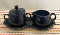 Fiestaware Cobalt Cream and Sugar 4 pc Set with Tray Fiesta Blue Coffee Set