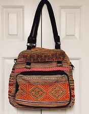 Bohemian Chic Festival Hippie Chic Tote Bag Embroidered Colorful Hobo Satchel