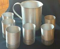 Vintage Spun Aluminum Pitcher & cups 7 pc Set  Mid century Modern