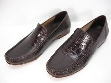 COLE HAAN BROWN CROC MOC EMBOSSED LEATHER SLIP ON LOAFERS DRESS SHOES MEN'S 10 M