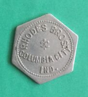 Columbia City, Indiana Rhodes Bros. 5 Cent Hexagonal Aluminum Token