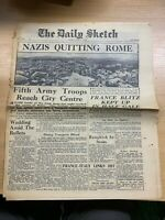 """WW2 """"NAZIS QUITTING ROME"""" THE DAILY SKETCH NEWSPAPER 5 JUNE 1944"""