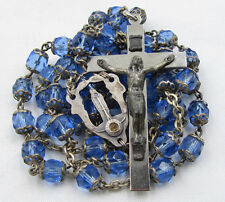 † HTF VINTAGE RELIC SOIL CENTERPIECE SAN CALLISTO DOUBLE CAPPED BLUE ROSARY †