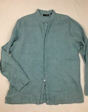 Mens MURANO Linen Long Sleeve Button Front Tunic Shirt Collarless Size Large