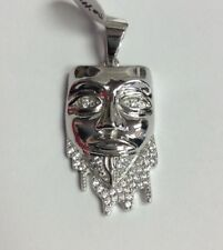 REAL STERLING SILVER Dripping Guy Fawkes Mask Symbol Cubic Zirconia PENDANT 5.4g