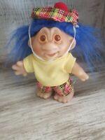 "Adorable Norfin Mini Golfer/Golf Pro 5"" Troll Doll - Dam 1986 - Blue Hair"