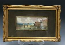 Early 20C Signed R. Comel Italian Watercolor Landscape Painting Gilt Frame 2/2