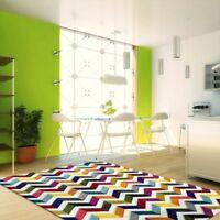 New Chevron Multicoloured Soft Fine Floor Rug Carpet All Sizes