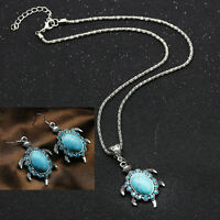 Vintage Blue Turquoise Turtle Pendant Chain Necklace Earrings Jewelry Set hot
