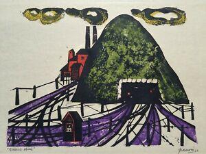 ANTONIO FRASCONI SIGNED Original Warwick Mine Color Woodcut Woodblock Print 1957